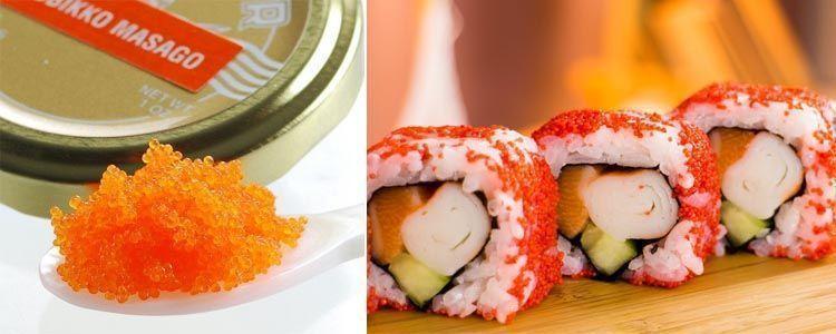Consumo de masago en sushi