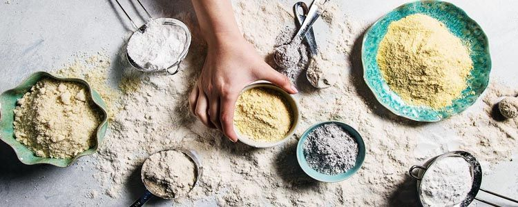Diferentes tipos de harina sin gluten vegetal